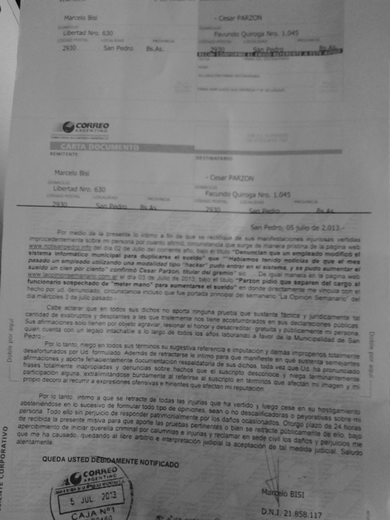 Carta documento a Parzon